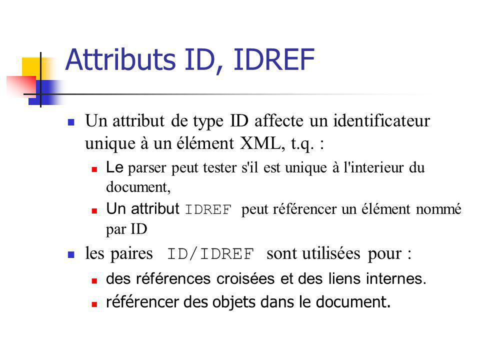 Attributs ID, IDREF Un attribut de type ID affecte un identificateur unique à un élément XML, t.q. :