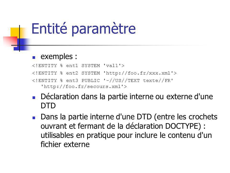 Entité paramètre exemples :