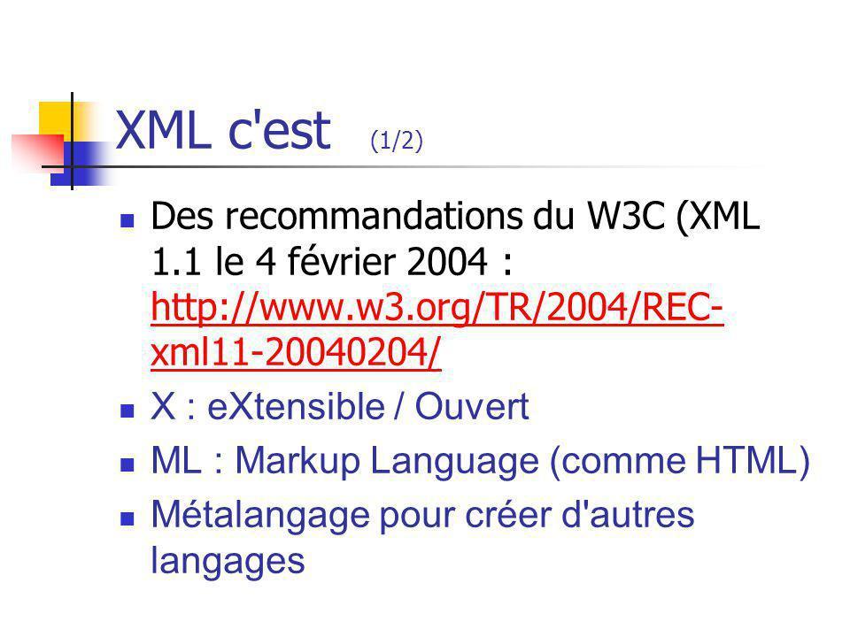 XML c est (1/2) Des recommandations du W3C (XML 1.1 le 4 février 2004 : http://www.w3.org/TR/2004/REC-xml11-20040204/
