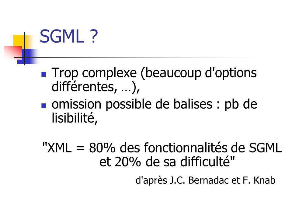 SGML Trop complexe (beaucoup d options différentes, …),