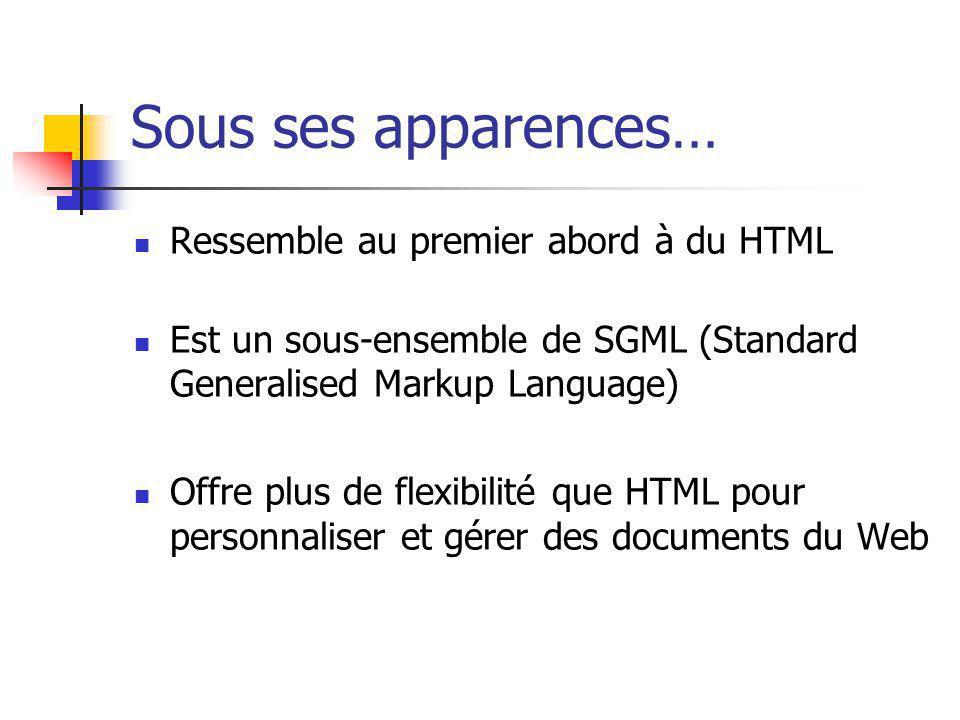 Sous ses apparences… Ressemble au premier abord à du HTML