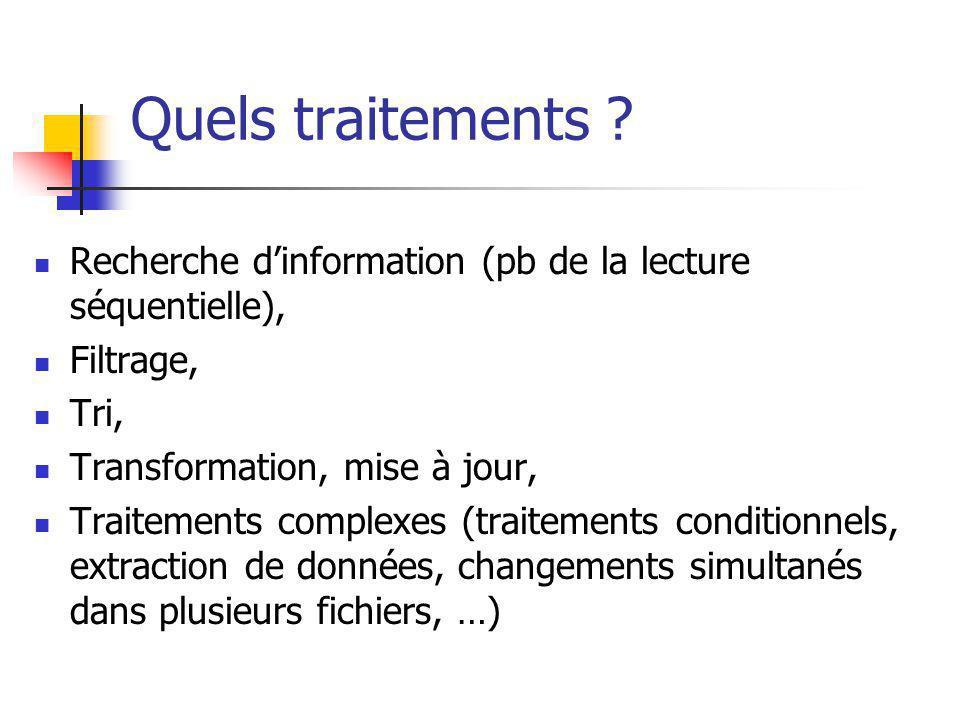 Quels traitements Recherche d'information (pb de la lecture séquentielle), Filtrage, Tri, Transformation, mise à jour,