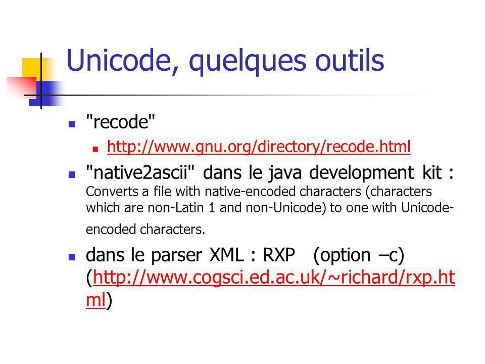 Unicode, quelques outils
