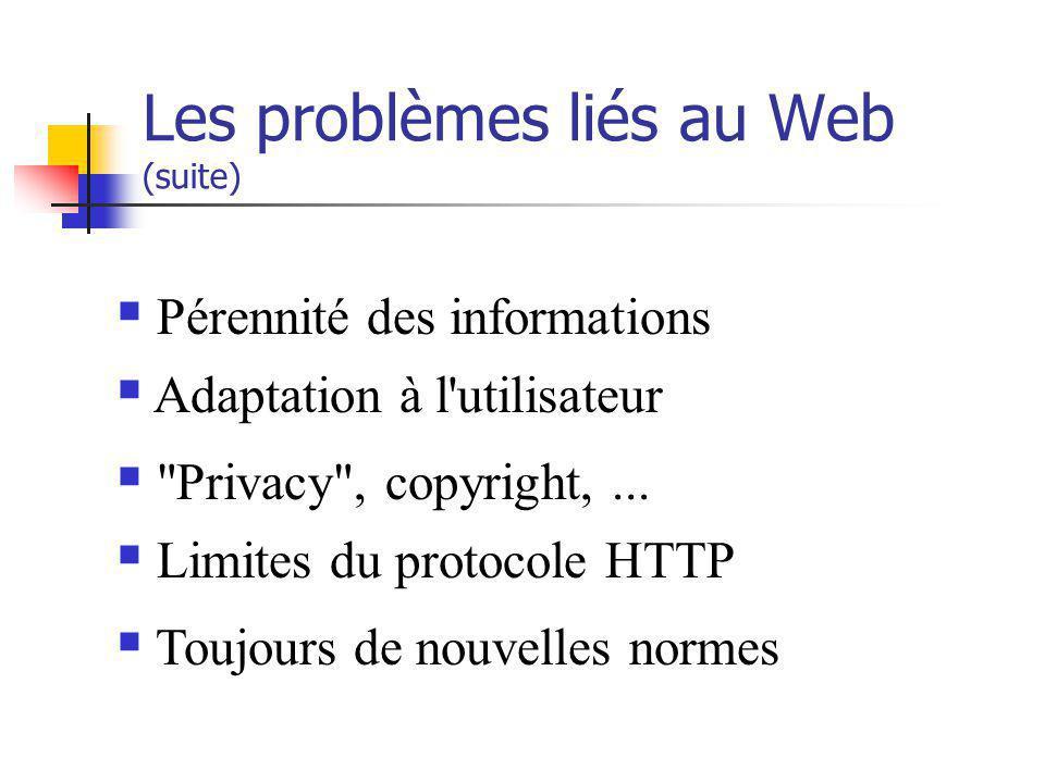 Les problèmes liés au Web (suite)