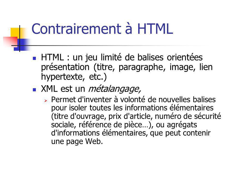 Contrairement à HTML HTML : un jeu limité de balises orientées présentation (titre, paragraphe, image, lien hypertexte, etc.)