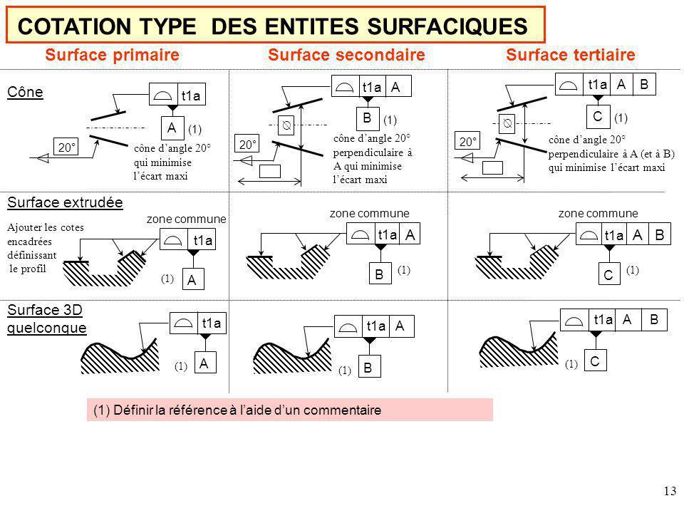 COTATION TYPE DES ENTITES SURFACIQUES