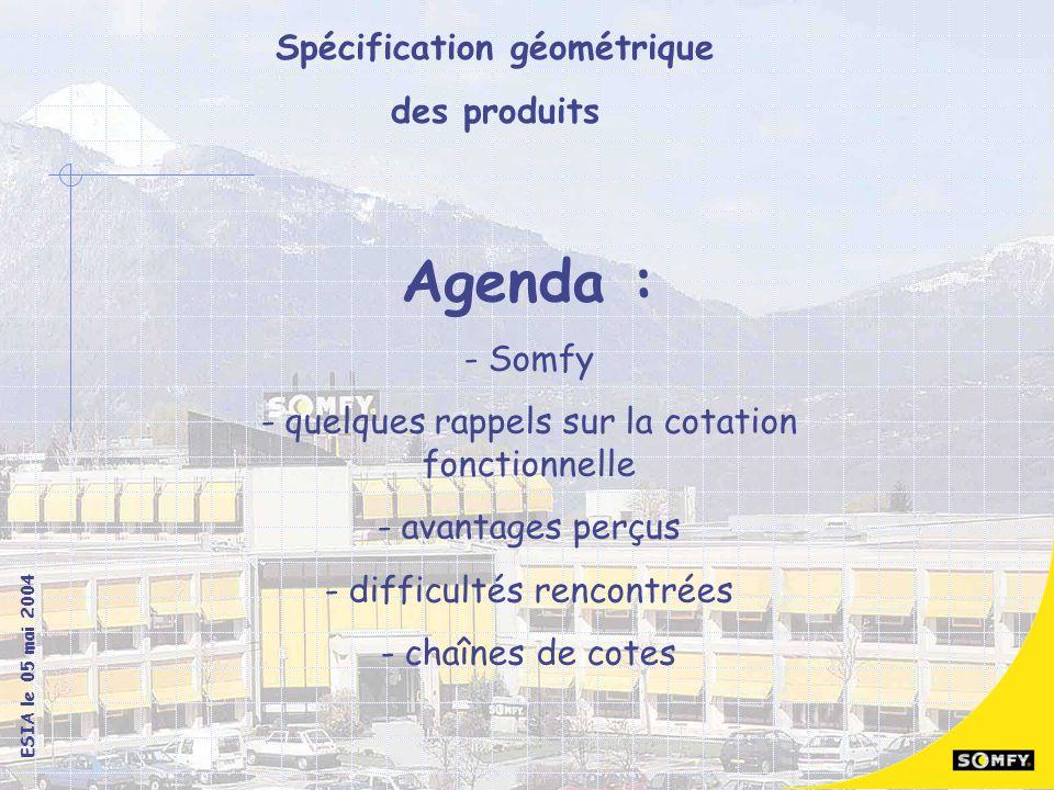 Agenda : Somfy quelques rappels sur la cotation fonctionnelle