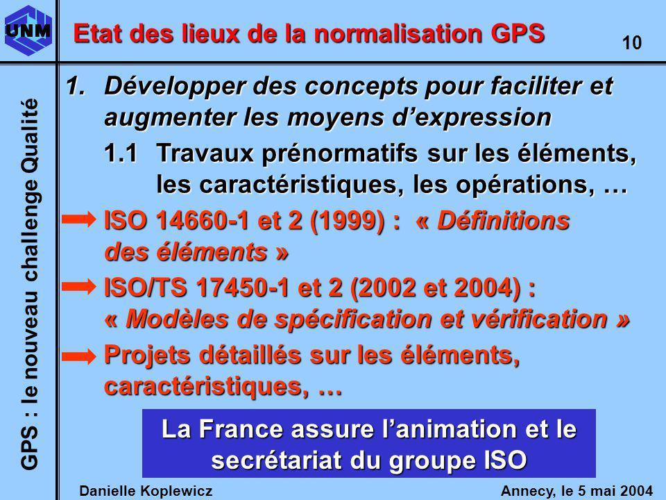 La France assure l'animation et le secrétariat du groupe ISO
