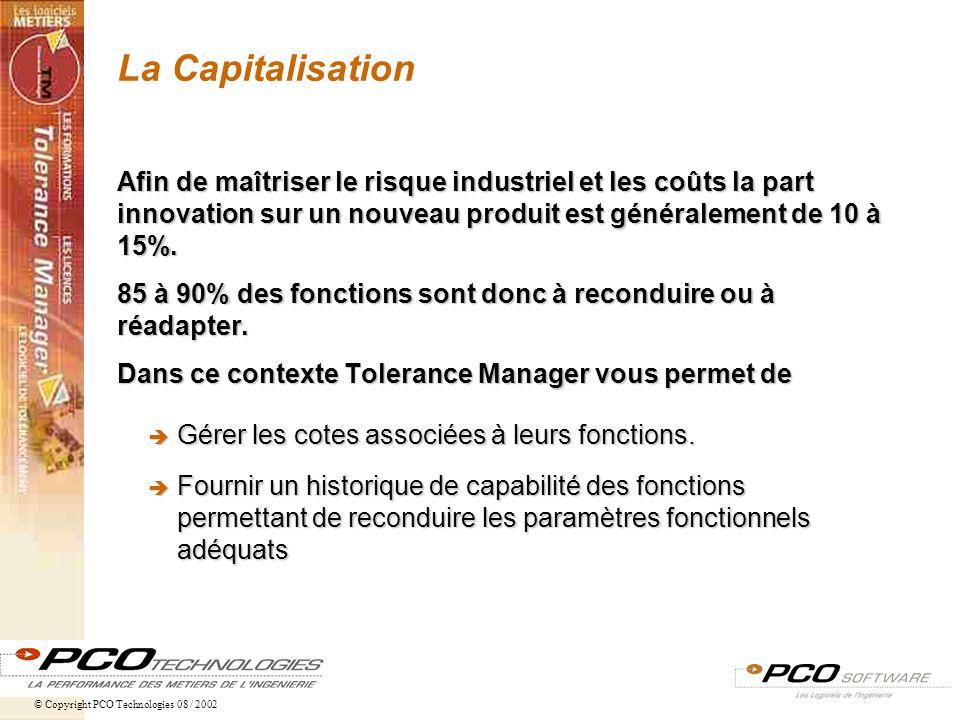 La Capitalisation Afin de maîtriser le risque industriel et les coûts la part innovation sur un nouveau produit est généralement de 10 à 15%.