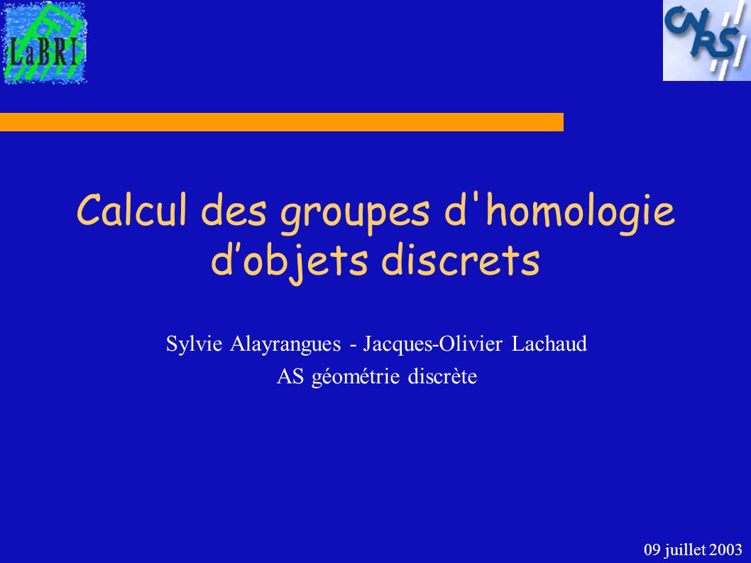 Calcul des groupes d homologie d'objets discrets