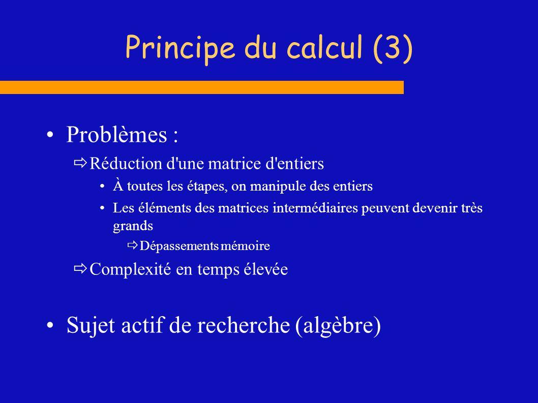 Principe du calcul (3) Problèmes : Sujet actif de recherche (algèbre)