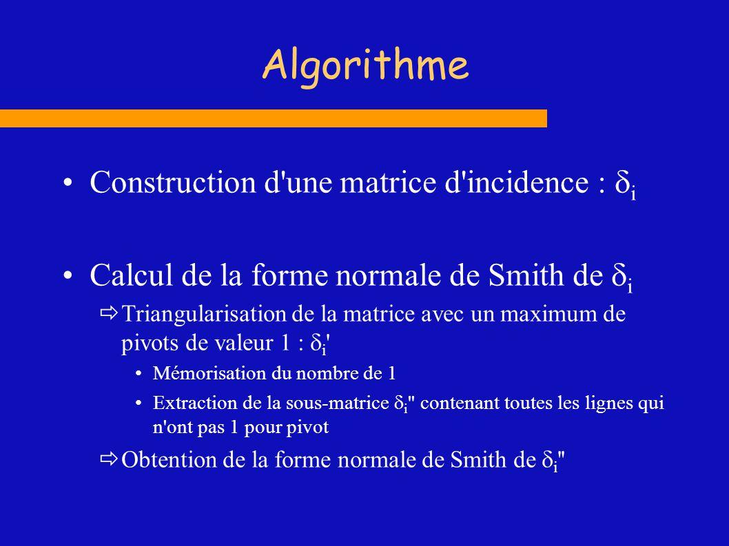 Algorithme Construction d une matrice d incidence : di