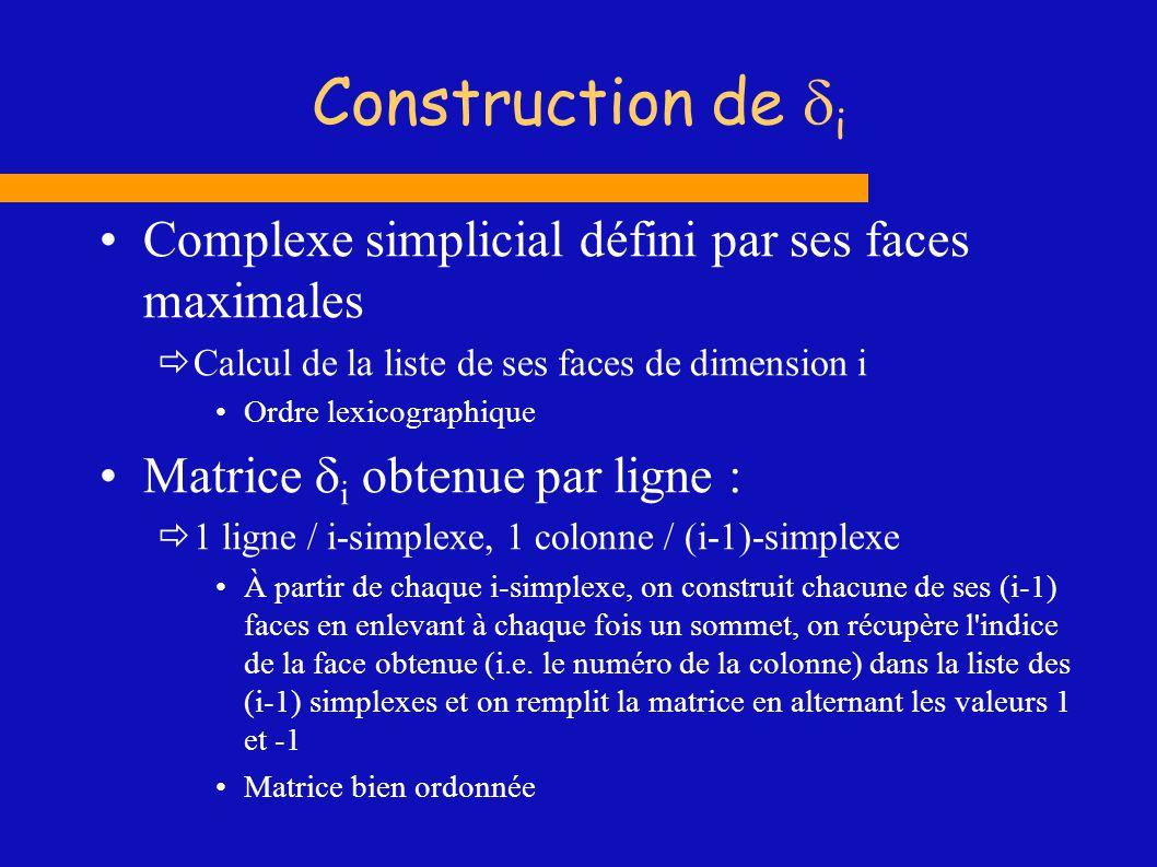 Construction de di Complexe simplicial défini par ses faces maximales