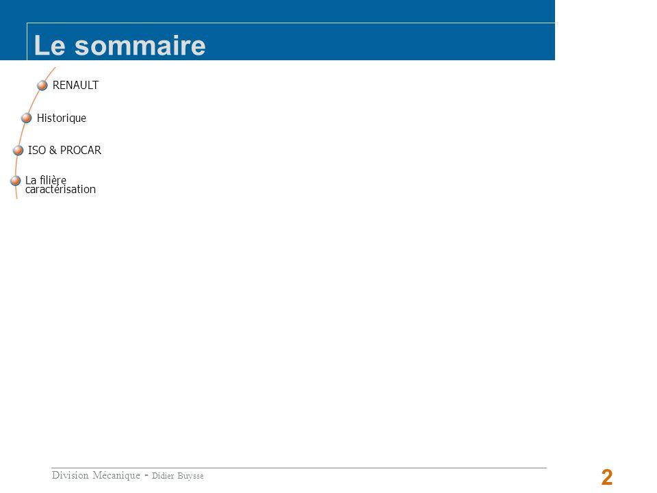 Le sommaire RENAULT La filière caractérisation ISO & PROCAR Historique