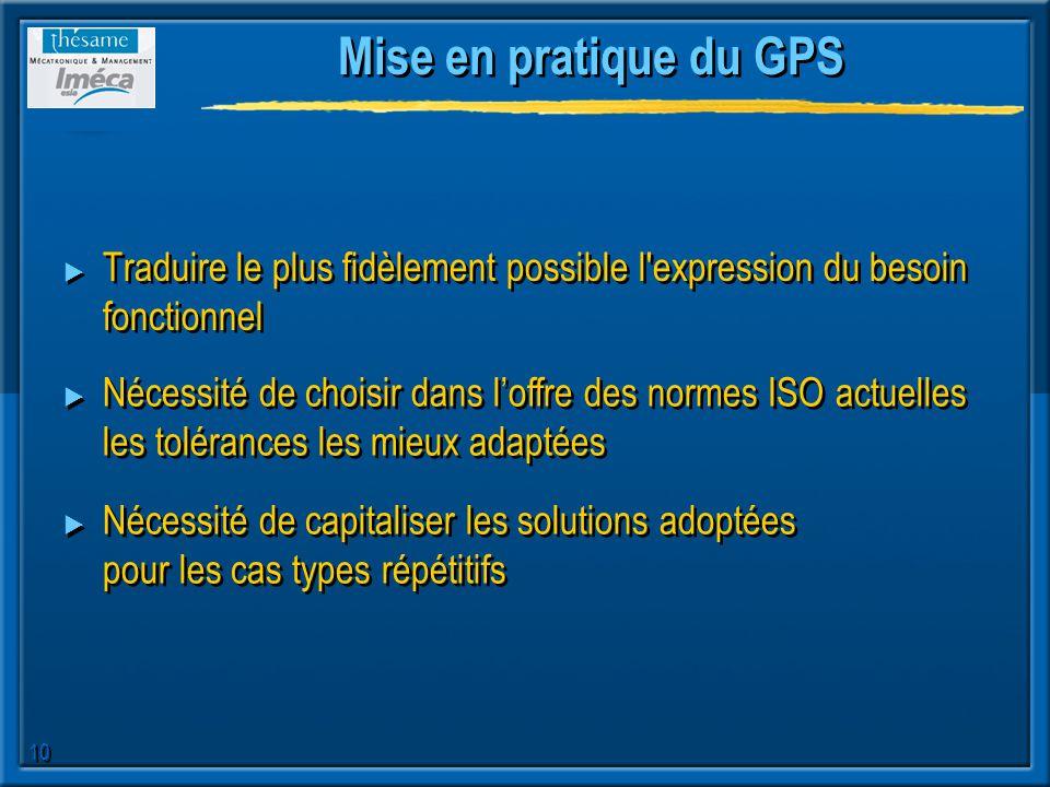 Mise en pratique du GPS Traduire le plus fidèlement possible l expression du besoin fonctionnel.