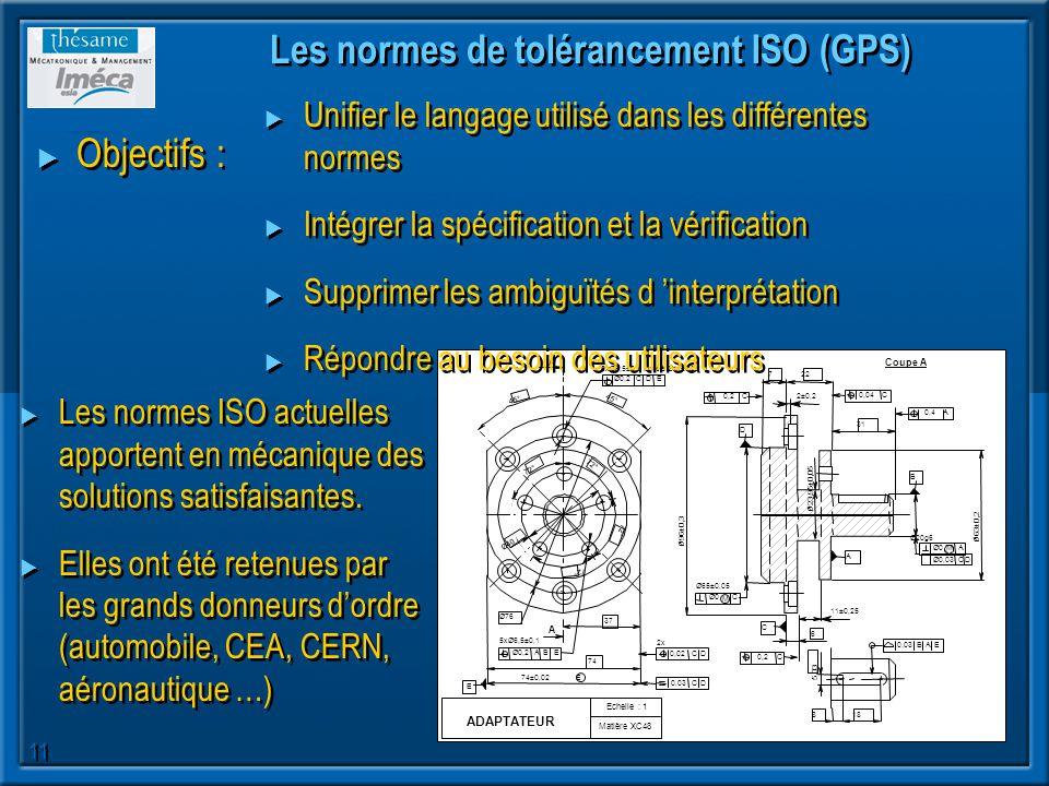 Les normes de tolérancement ISO (GPS)