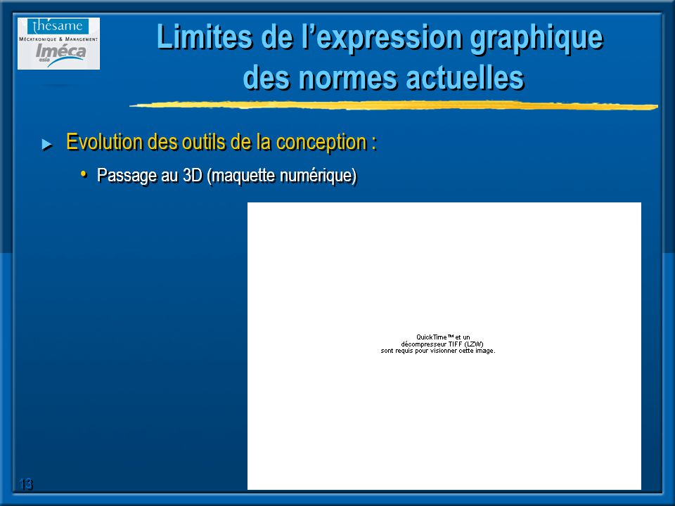 Limites de l'expression graphique des normes actuelles