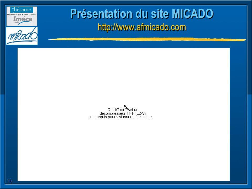 Présentation du site MICADO http://www.afmicado.com