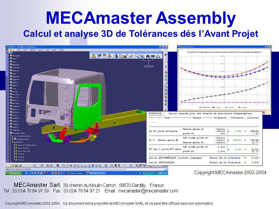 Calcul et analyse 3D de Tolérances dés l'Avant Projet
