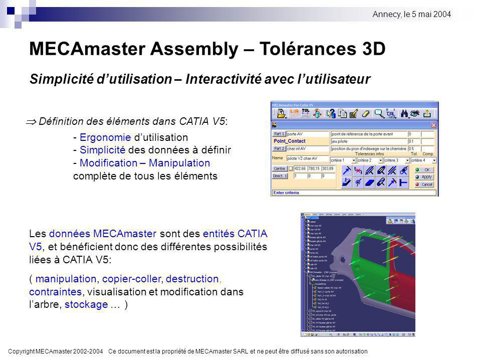 MECAmaster Assembly – Tolérances 3D
