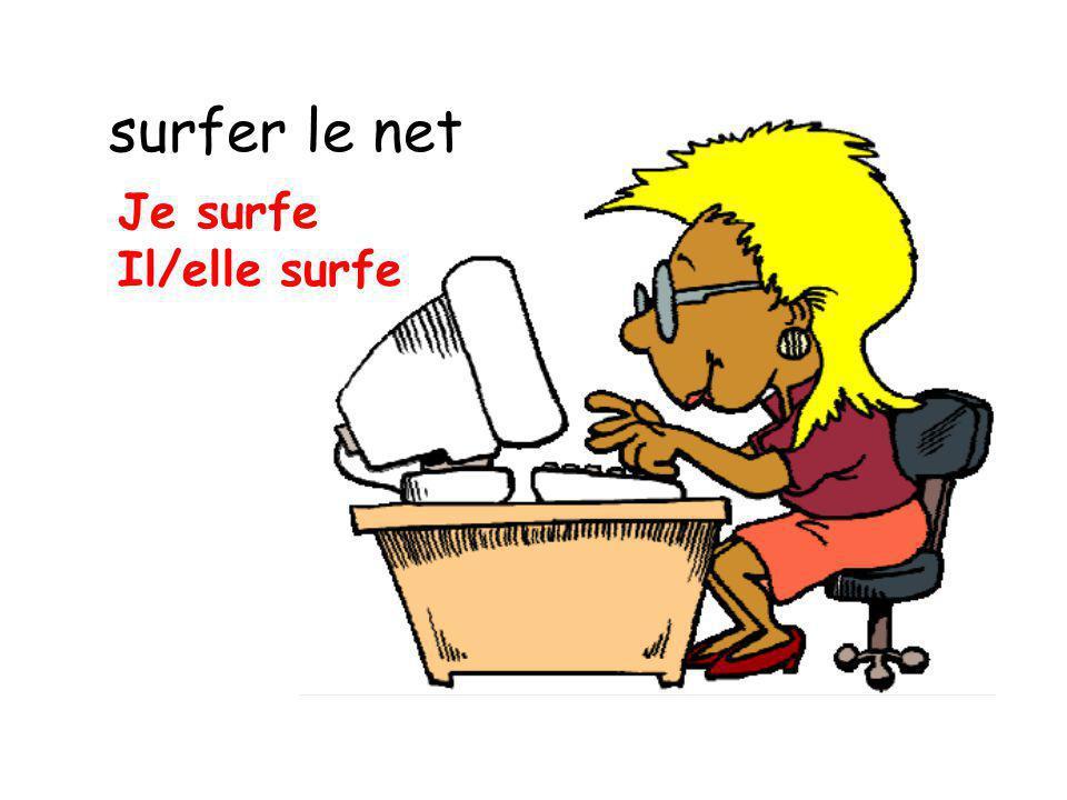 surfer le net Je surfe Il/elle surfe