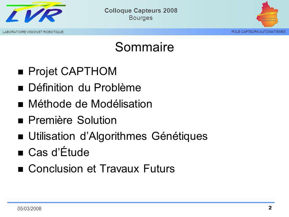 Sommaire Projet CAPTHOM Définition du Problème Méthode de Modélisation
