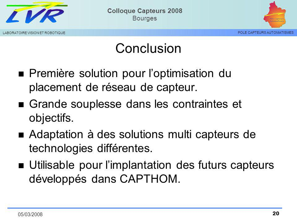 Conclusion Première solution pour l'optimisation du placement de réseau de capteur. Grande souplesse dans les contraintes et objectifs.