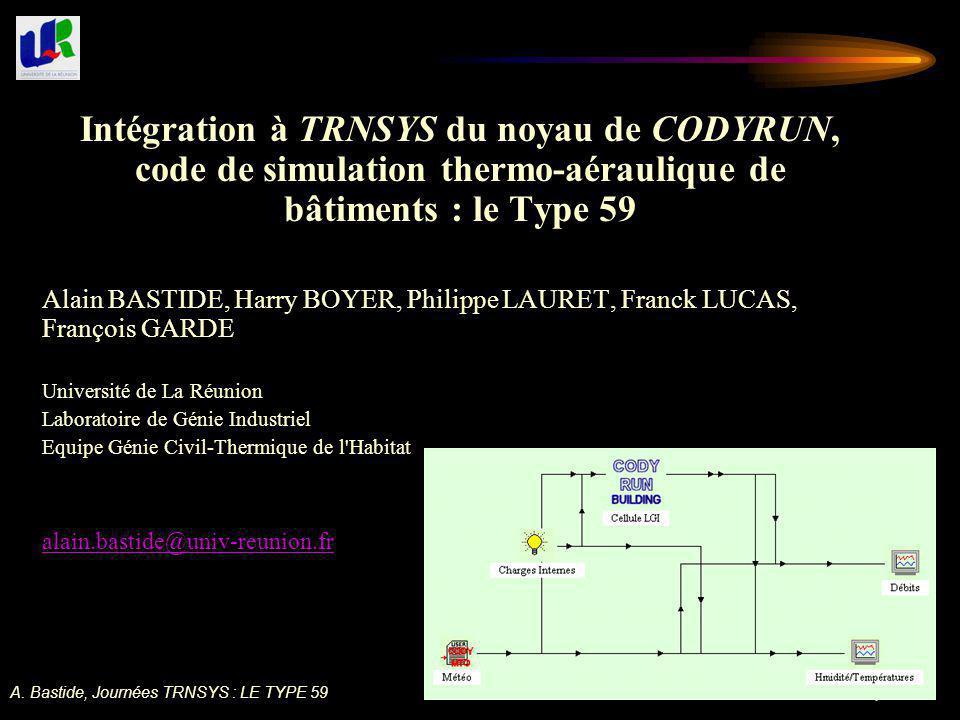 Intégration à TRNSYS du noyau de CODYRUN, code de simulation thermo-aéraulique de bâtiments : le Type 59