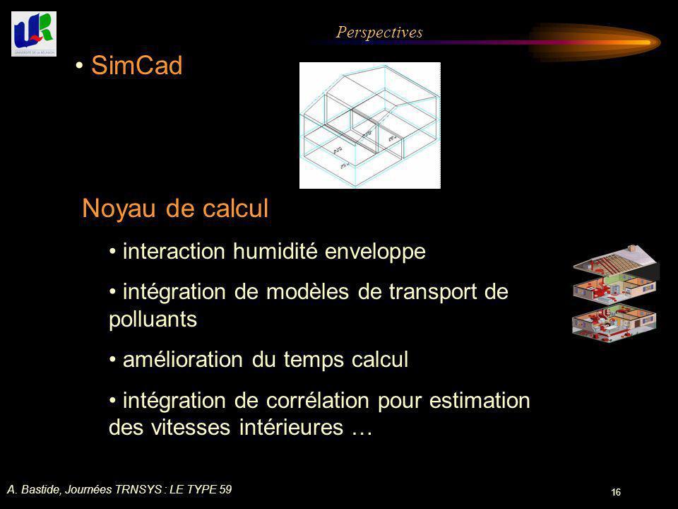 SimCad Noyau de calcul interaction humidité enveloppe