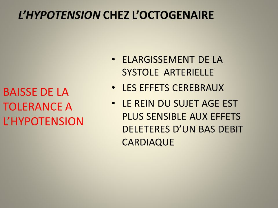 L'HYPOTENSION CHEZ L'OCTOGENAIRE