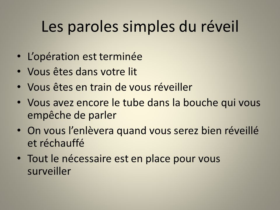 Les paroles simples du réveil