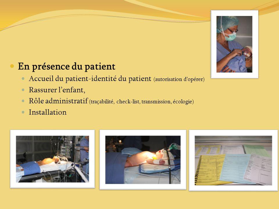 En présence du patient Accueil du patient-identité du patient (autorisation d'opérer) Rassurer l'enfant,