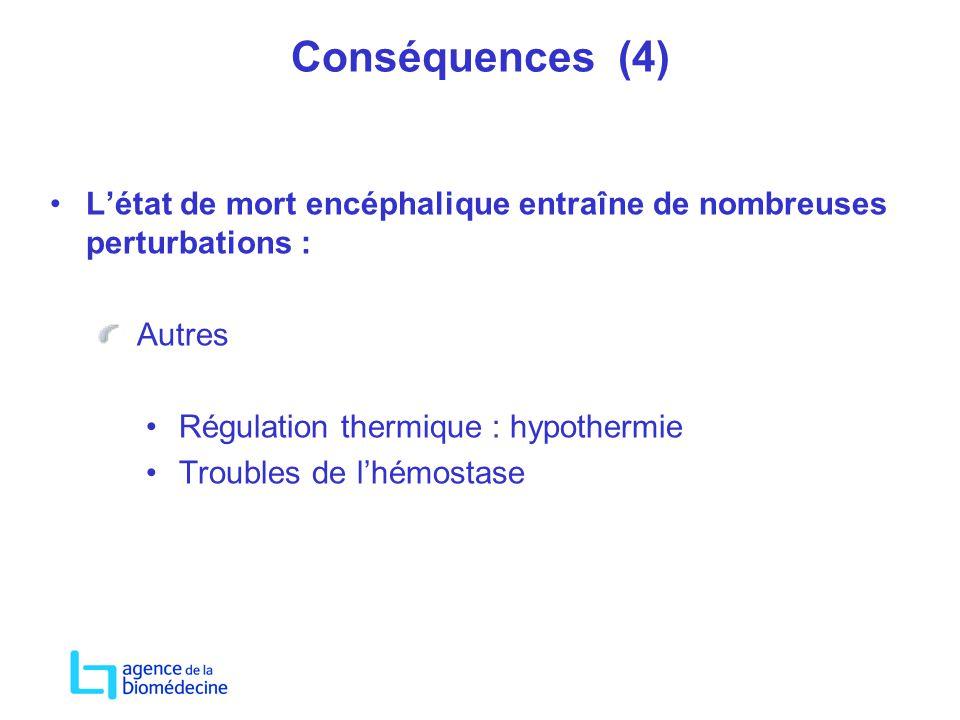 Conséquences (4) L'état de mort encéphalique entraîne de nombreuses perturbations : Autres. Régulation thermique : hypothermie.