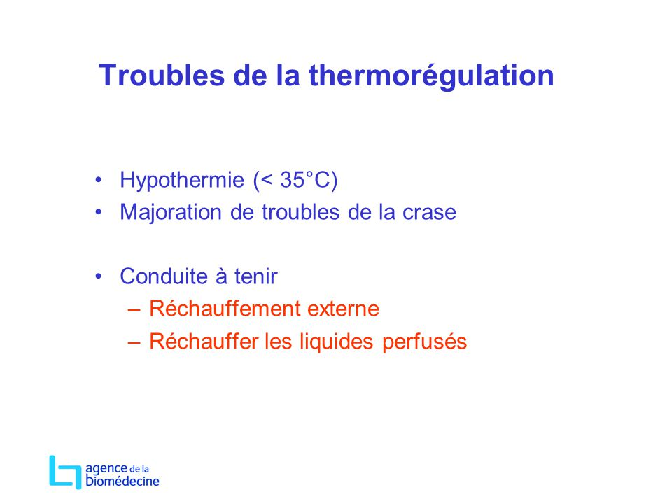 Troubles de la thermorégulation