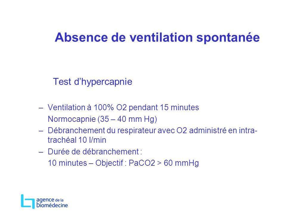 Absence de ventilation spontanée