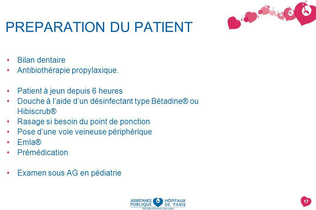 PREPARATION DU PATIENT