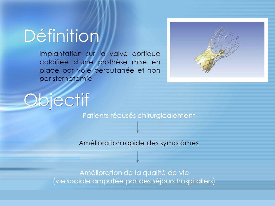 Définition Implantation sur la valve aortique calcifiée d'une prothèse mise en place par voie percutanée et non par sternotomie.