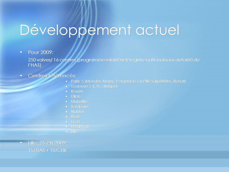 Développement actuel Pour 2009: 250 valves/ 16 centres (programme ministériel/ registre national sous autorité de l'HAS)
