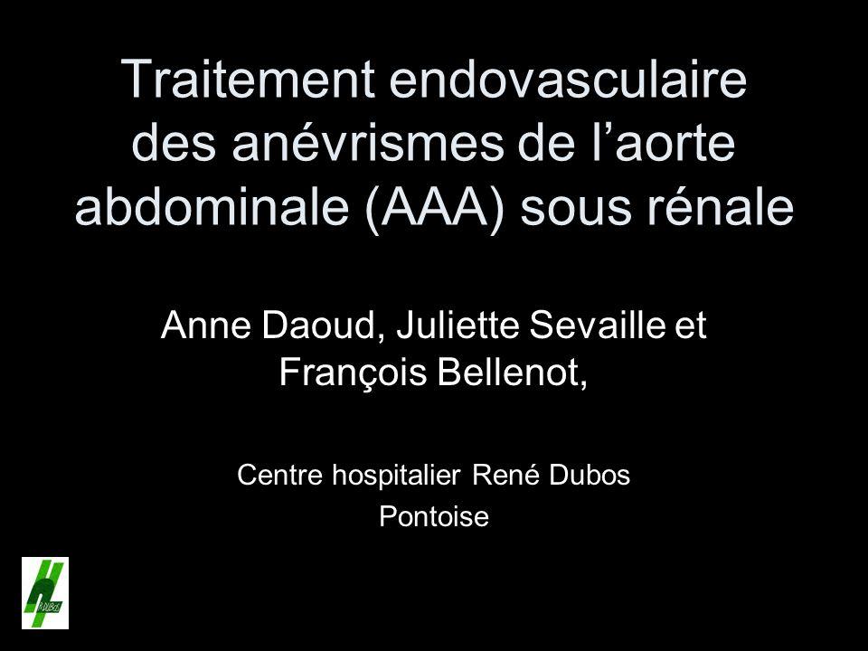Traitement endovasculaire des anévrismes de l'aorte abdominale (AAA) sous rénale