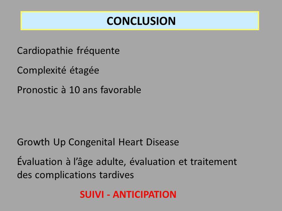 CONCLUSION Cardiopathie fréquente Complexité étagée