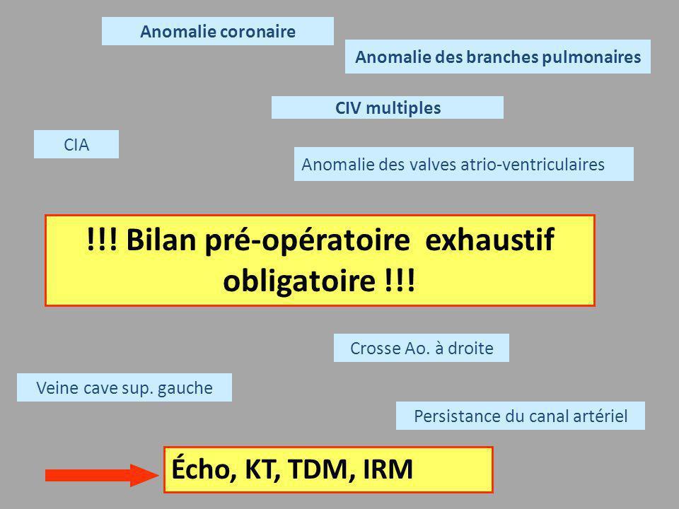 !!! Bilan pré-opératoire exhaustif obligatoire !!!