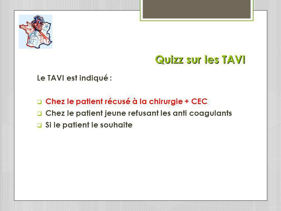 Quizz sur les TAVI Le TAVI est indiqué :