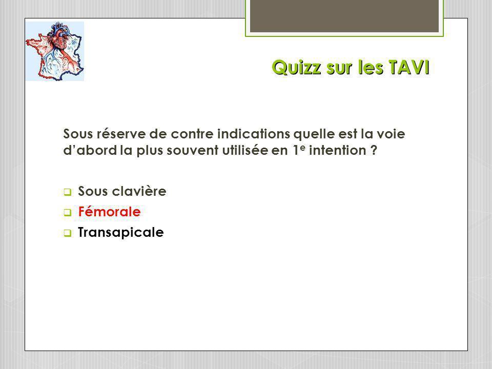 Quizz sur les TAVI Sous réserve de contre indications quelle est la voie d'abord la plus souvent utilisée en 1e intention