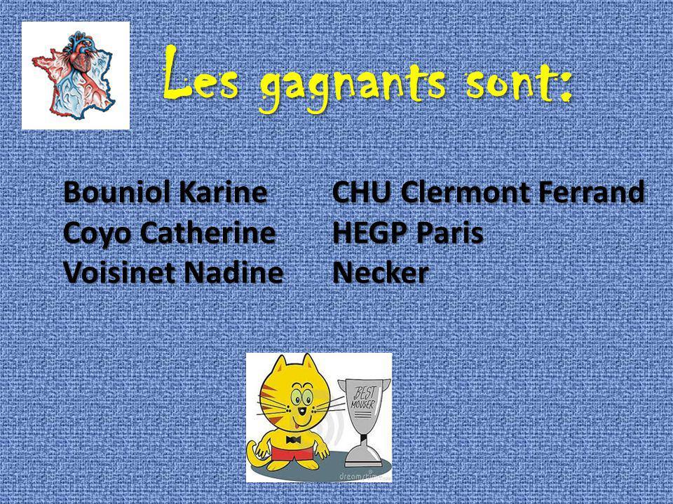 Les gagnants sont: Bouniol Karine CHU Clermont Ferrand