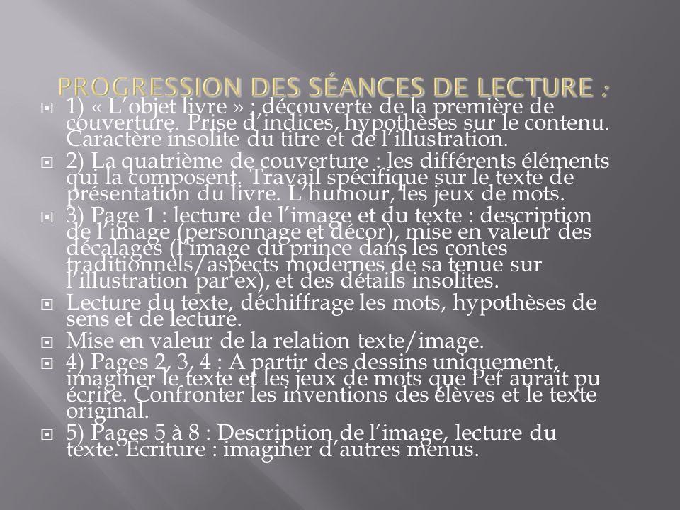 PROGRESSION DES SÉANCES DE LECTURE :