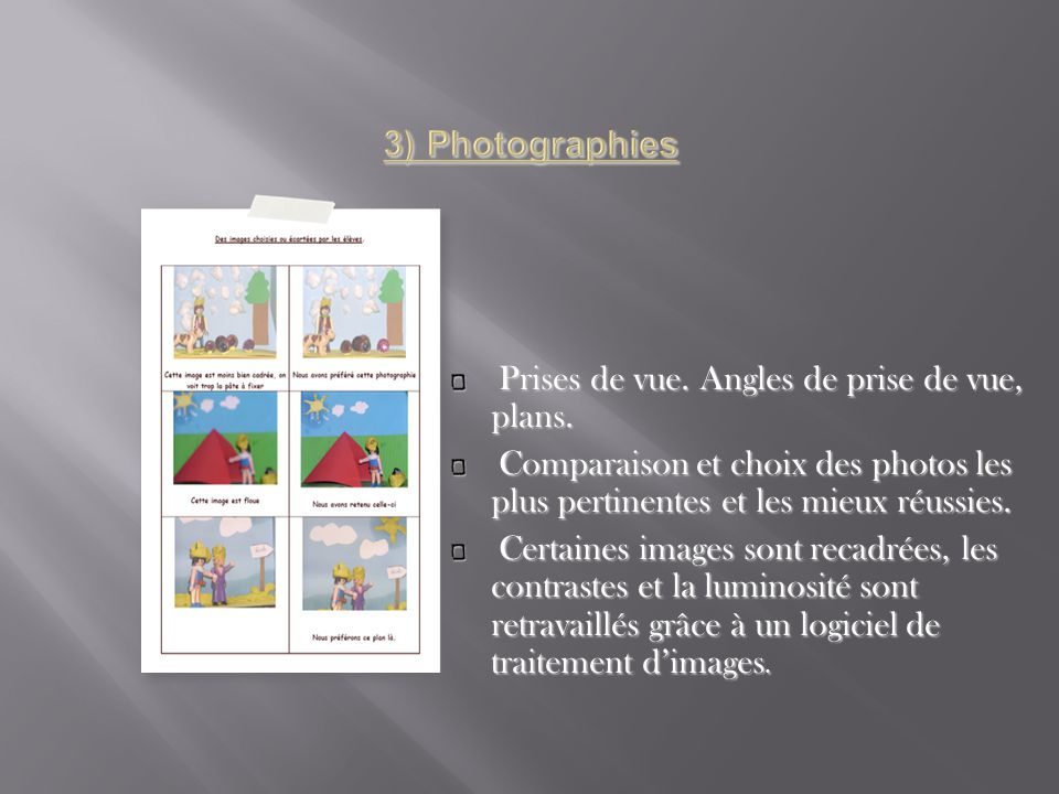 3) Photographies Prises de vue. Angles de prise de vue, plans.