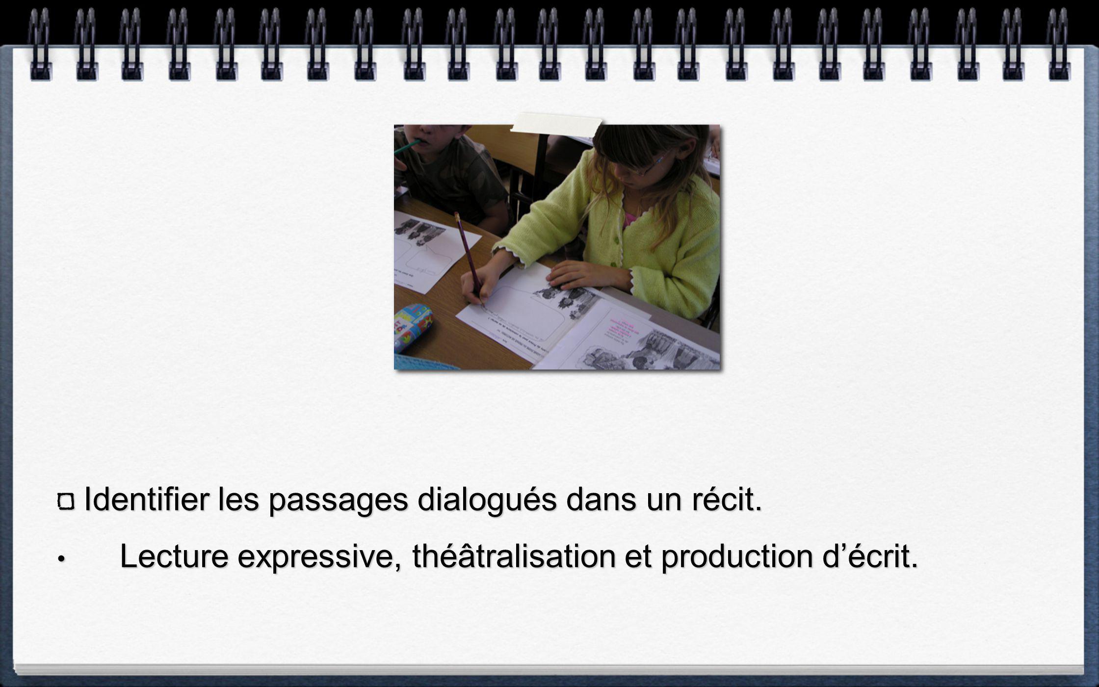 Identifier les passages dialogués dans un récit.