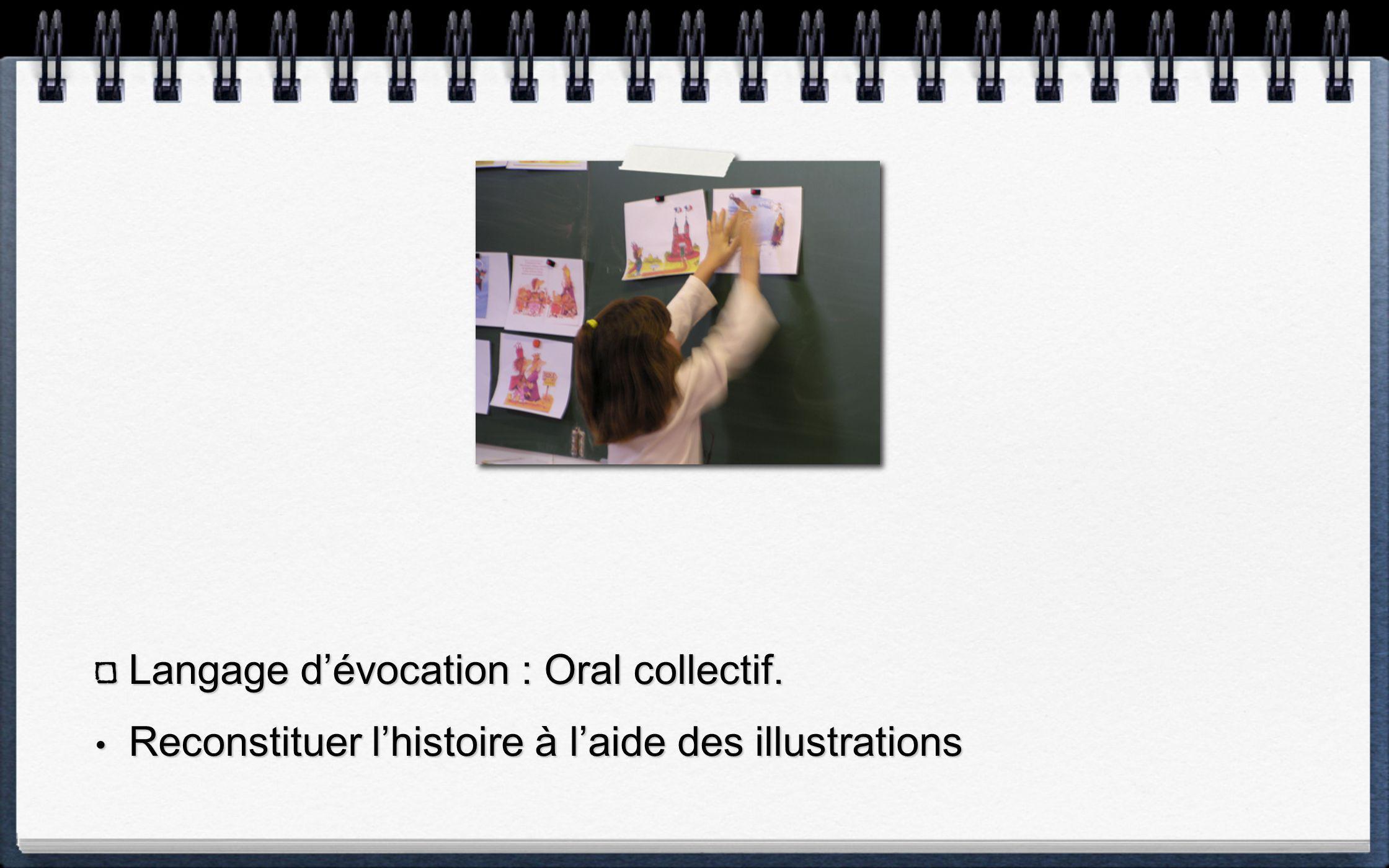 Langage d'évocation : Oral collectif.
