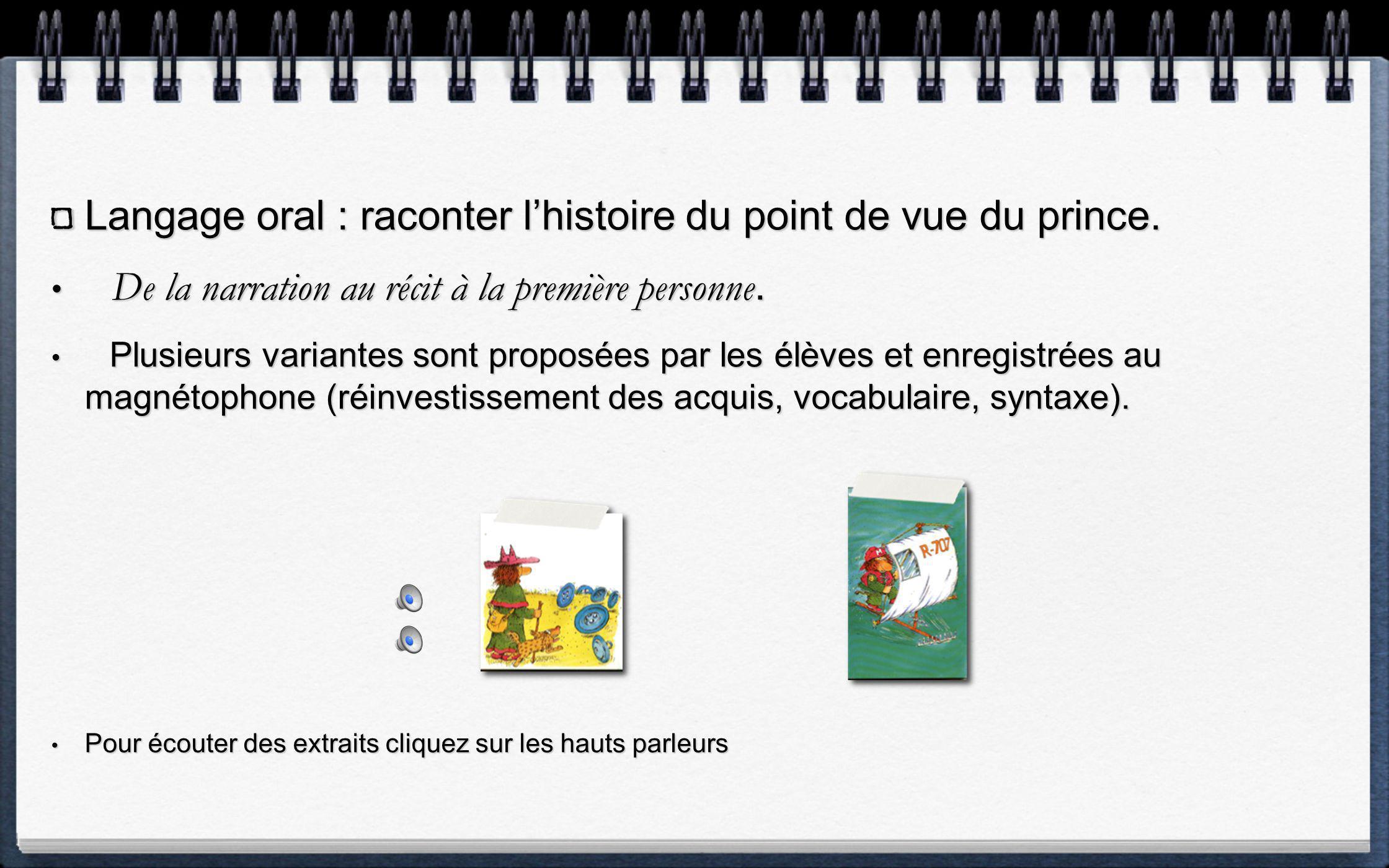 Langage oral : raconter l'histoire du point de vue du prince.
