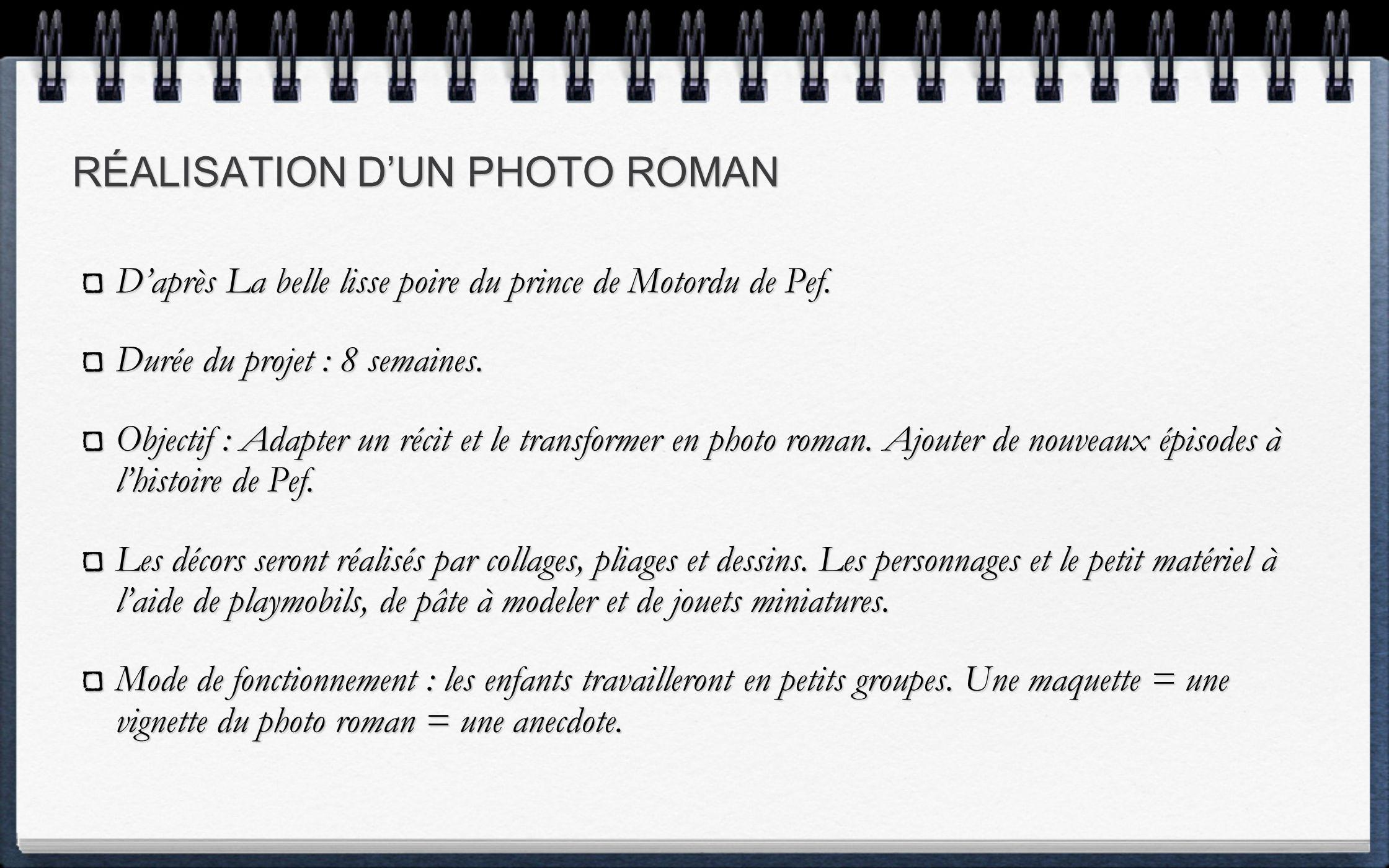 RÉALISATION D'UN PHOTO ROMAN
